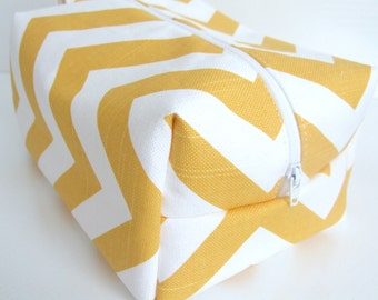 Yellow Chevron Makeup Bag  - Cosmetic Pouch -  Lunch Bag - Wet Bag -Waterproof Bag