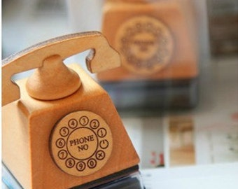 Wooden Rubber Stamp - Vintage Style -Telephone