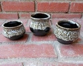 Set of 3 Snowy Black and White Candle Holders Cups