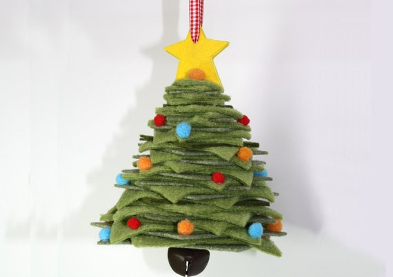 Christmas tree felt ornament yellow star and by