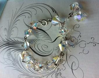 Vintage Silver Tone Dangly AB Crystal Bracelet