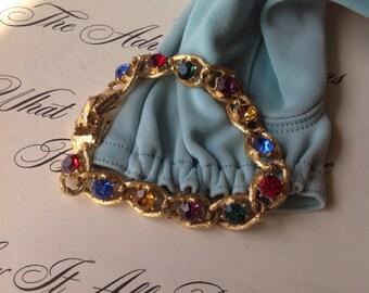 Vintage Gold Tone Multi Color Rhinestone Bracelet