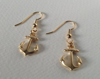 Gold Anchor Earrings, Small Anchor Earrings, Gold Plated Anchor Earrings
