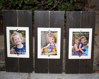 Set of 3 Brown 4 x 6 Distressed Wood Frames Pick your colors