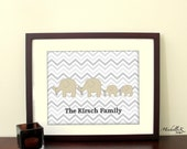 "8""x10"" Personalized Printable Art - ""Elephant Family"" in your choice of color on grey chevron background- Personalize with your name"