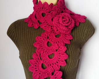 Crochet SCARF/ NECKWARMER with Crochet Flower Brooch women red bordo, шарф, sjaal, bufanda, cachecol, sciarpa, Schal, foulard, echarpe