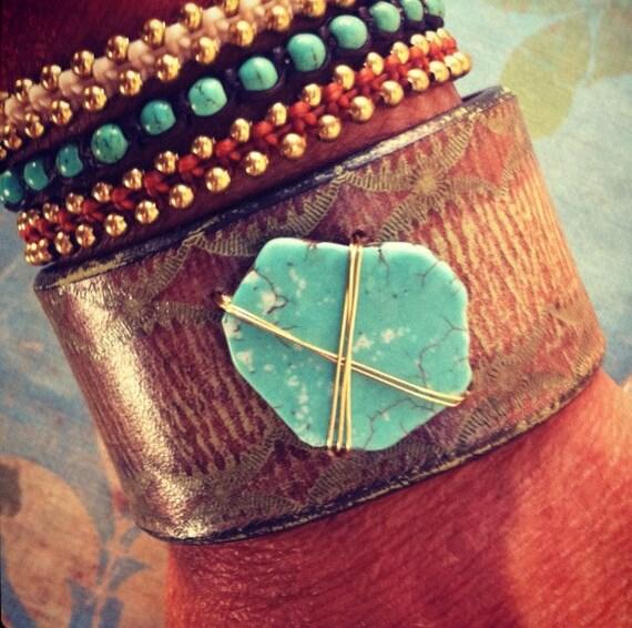 Leather Bracelet Chunky Turquoise Gemstone Cuff, Rustic Sea Green, Ladies