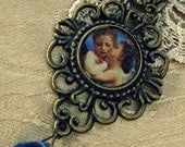 Victorian Necklace with cherubs and blue crystal glass beads