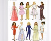 """Simplicity 9838   Crafts  11 1/2"""" Fashion Doll Clothes, Design Your Own Fashion Doll Clothes.  1996."""