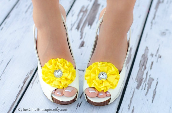 Canary Yellow Shoe Clips - Wedding, Bridesmaid, Date Night, Party, Everyday wear