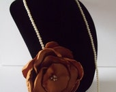 """Large BRONZE DEEP GOLD 5"""" Rose Rosette Flower Pearl Necklace with Center Pearls 16"""" Length"""