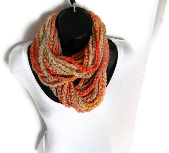 Chunky Crochet Circle Scarf Necklace Scarves Infinity Loop Cotton Winter Eternity Orange Tan Cream Green