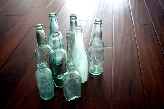 Vintage Blue Green Glass Bottle Collection - set of 8, aqua, apothecary, medicine, primitive, instant collection