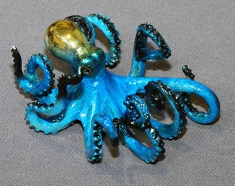 "Octopus Bronze Sculpture ""Oliver Octopus"" Figurine Statue Aquatic Art / Limited Edition / Signed & Numbered"