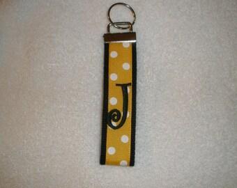 Virginia Commonwealth Univ,Wichita State Univ,Wake Forest Keychain-Black Webbing Gold/White Polka Dot Ribbon Black Monogram Wristlet Key Fob
