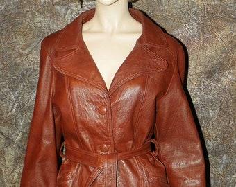 Leather Belted Coat Beautiful 1960's Supple Caramel 11-12
