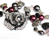 Silver rose beaded necklace burgundy charcoal grey OOAK bridesmaid gift glamour handmade