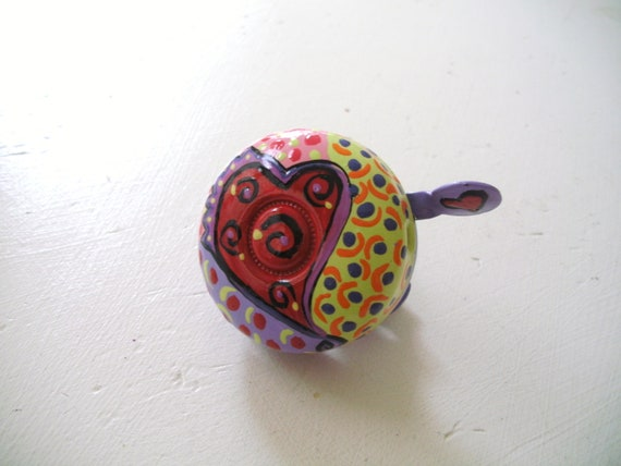 Bike Bell Heart Spiral Red Purple Hand Painted Metal