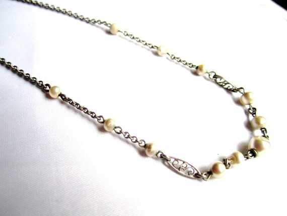 Art Deco Freshwater Pearl Necklace 1920s Vintage Great Gatsby