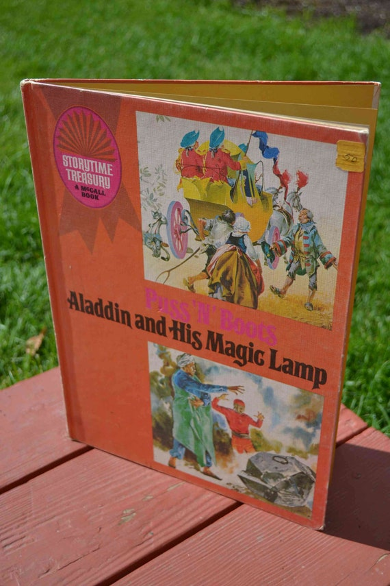 Puss 'N' Boots Aladdin and His Magic Lamp dual story book Storytime Treasury A McCall Book 1969 orange