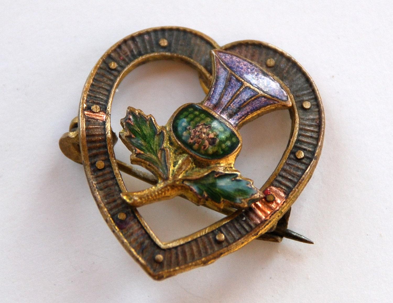 Scottish Thistle Brooch Victorian Heart By Beckoningbeefygems