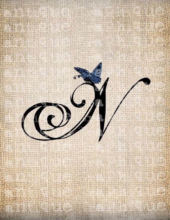 Antique Letter N Script Monogram with by AntiqueGraphiqueAged