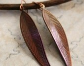 Autumn leaf earrings -AUTUMN LEAVES- patina aged autumn leaf earrings, free gift boxing