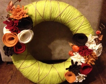 Fall Felt Yarn Wreath
