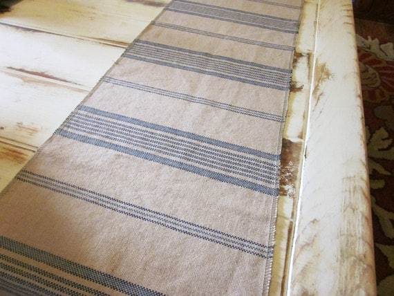 Blue table runner, shabby chic, farmhouse decor, linen cotton table runner, cottage decor, french country decor