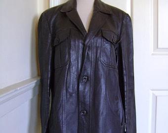 Original Steve McQueen-style 60s men's brown leather jacket
