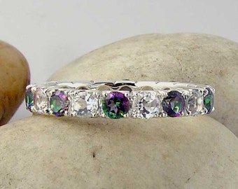 Mystic Topaz & White Topaz Silver Eternity Ring - Mystic Green Topaz and White Topaz Eternity Band in 925 Sterling Silver