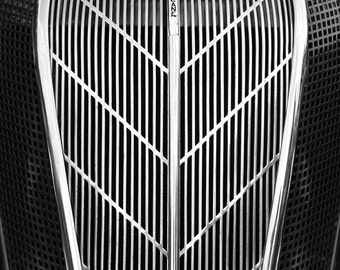Black and White Art Photo, 9x12 Print, Automobile Photograph, Close-up Black and White Photo