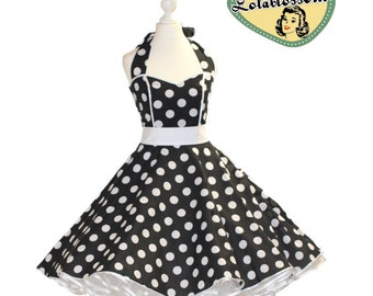 50's vintage dress full skirt black white polka dots dress Tailor Made after your measurements