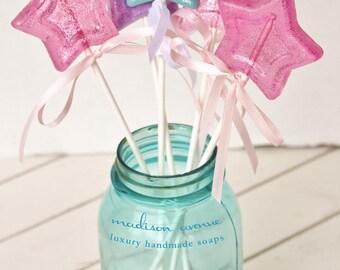 Set of 6 Handmade Magic Wands Lollipop SOAP  Pops Spa Favors Girls Day Favors Princess Party Favors