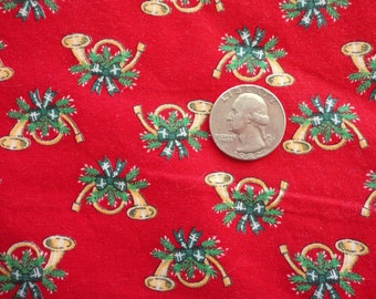 christmas horns novelty print vintage cotton fabric -- 42 wide by 1 1/2 yards