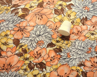 golden yellow and soft orange floral print vintage cotton fabric -- 35 wide by the yard