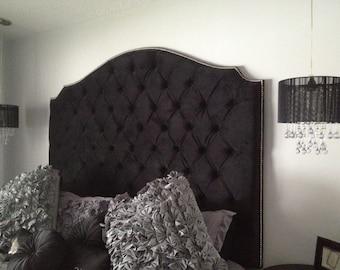 Black Velvet Diamond Tufted Elongated Cavendish Shape Headboard with Nailhead Border (King, Tall)