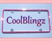 Thin ROSE PINK Rhinestone Diamond Crystal  Bling License Plate (Metal) Frame