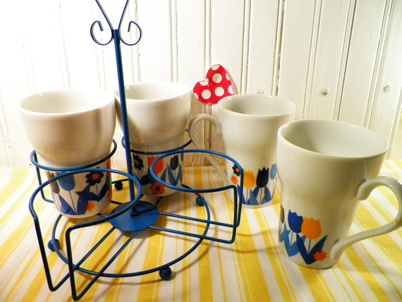 Enesco Tulip Mugs With Carrier Set Of Four