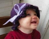 Fall autumn knit Sugar Plum Purple baby hat 6 -12 months perfect winter hat baby hat