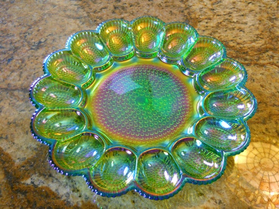 Vintage Irradiancent Carnival Glass Deviled Egg Plate