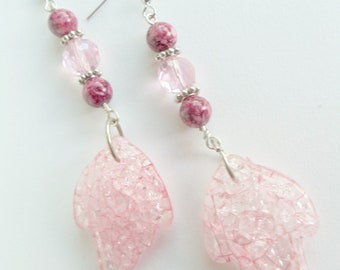 Pink Earrings, Pink Acrylic Crackle Bead, Round Glass Bead Silver Breast Cancer Awareness
