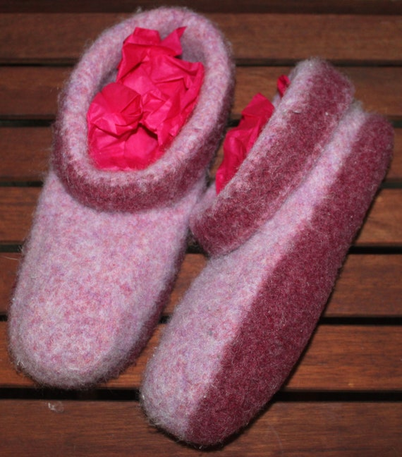 Hand Knit and Felted Women's Slippers, From Shaker Wool, Pink and Plum Felt, 7.5, 8, 8.5, 9, 9.5