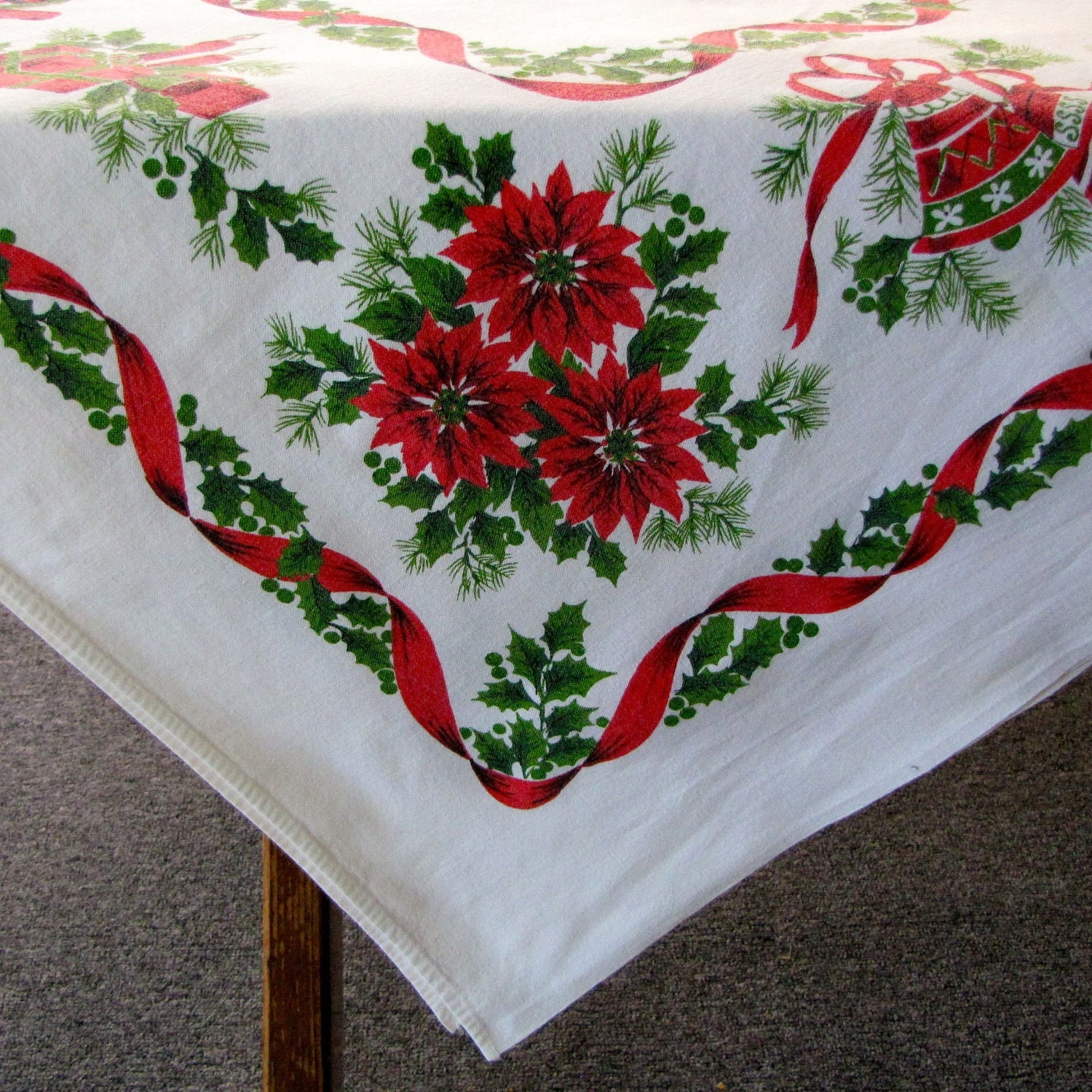 Vintage Christmas Tablecloth Linen Sleigh Bells Poinsettias