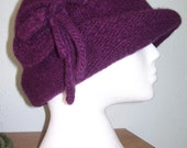 Womens knitted  felted women hat in deep purple maroon colour