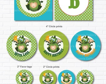 Dragon Birthday Party DIY Printable Party pack - Banner - party circles - favor tag - water bottle wrapper