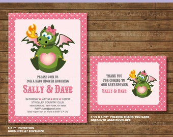 Dragon Baby shower Invitation and Thank you card for Girls - DIY Printable - Customized