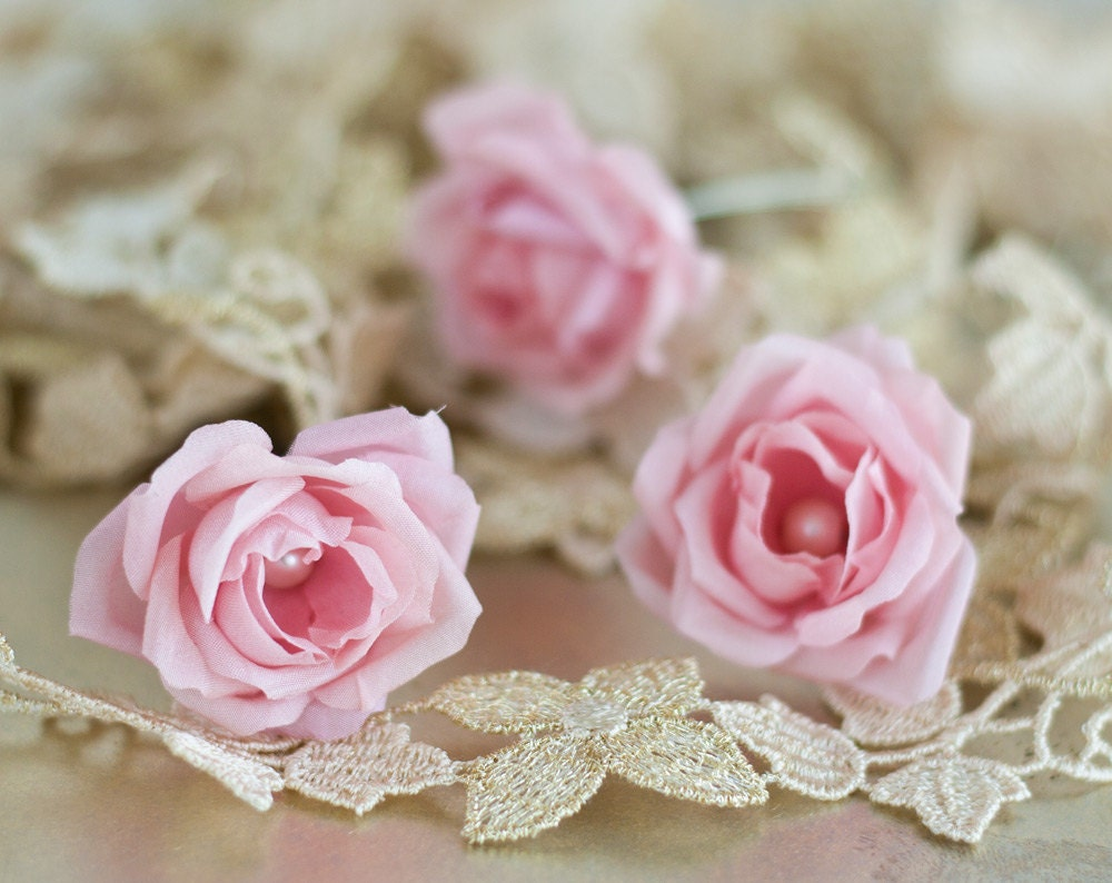 Wedding Hair Flowers Pink : Flower pink rose wedding hair bridal