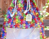 Multi Colored Puzzle Pieces: Fully Lined Drawstring Window Bag