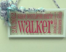 Picture Frame Birth Announcement with Decorative Ribbon and Hanger